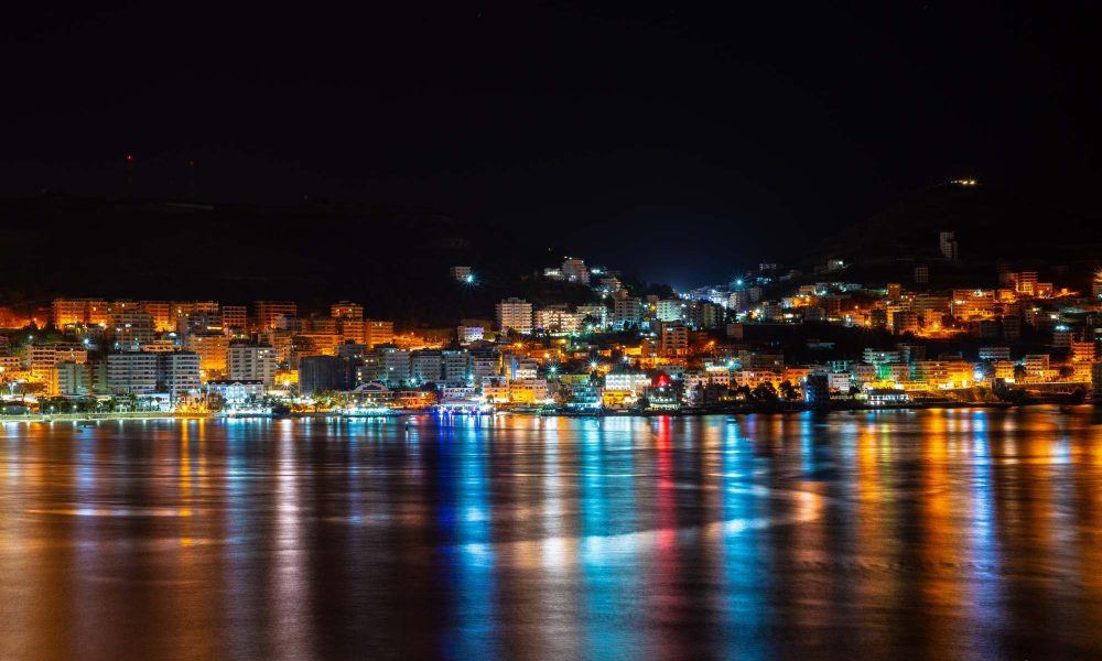 view on Sarande city with lights at night, Albania