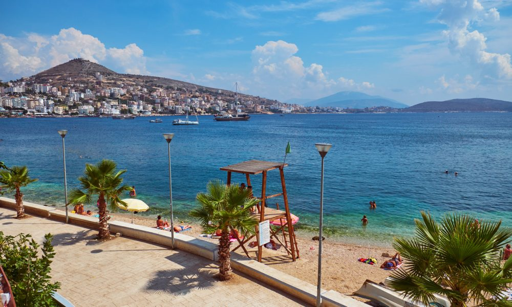 Albania, Saranda - August 15, 2018:  View of the city beach in summer in the holiday season